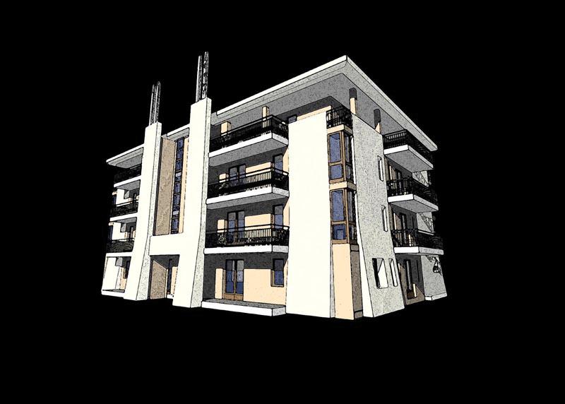 L'edificio di progetto, prospetto sud
